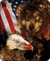 Wolf & Eagle with Flag Luxury Blanket
