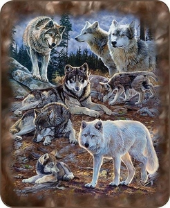 Wolves Collage Luxury Blanket