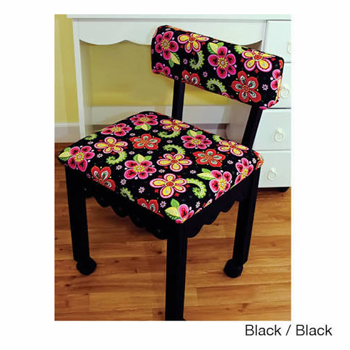 Arrow 5003 Gingerbread Trim Black Chair, Newcastle Floral Fabric with Underseat Storage  5001/5003