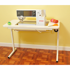 "Arrow 98611 ""Gidget lI"" Fully Assembled Folding Sewing Table White with Wheels"