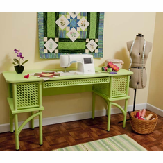 "Arrow ""Florie"" 1014 Classic Wicker Sewing Machine Cabinet Pistachio Green"