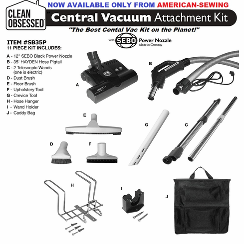 "Clean Obsessed Deluxe Central Vacuum Kit With 12"" SEBO Power Nozzle with 30 FT Pigtail Hose"