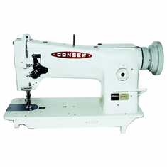 Consew Model 206RB-5<p>Triple Feed: Drop Feed, Needle Feed, and Alternating (Walking) Presser Feet Industrial Sewing Machine with Stand