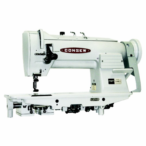 Consew Model 333RB-3 <p>High Speed, Two Needle, Drop Feed, Needle Feed, Lockstitch Sewing Machine</p><p>   With: Centra-Lube� Semi-Automatic Lubrication System, Large Vertical Axis Hooks and Bobbins, Reverse Feed, Safety Clutch </p>