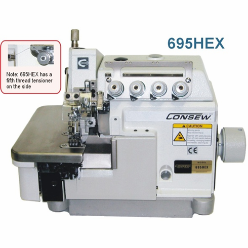Consew Model 695HEX<p>High Speed Overlock</P><p>With: Tractor Foot, Extra High Foot Lift For Extra Heavy Weight Materials 2 Needles,  4 / 5 Threads with Fully Automatic Lubrication, Differential Feed</p><p> With: Micrometric Adjustment, Push button Stitch Regulator</p>