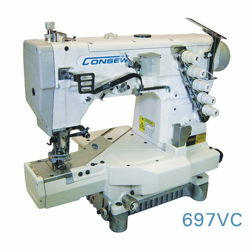 Consew Model 697VC<p> High Speed Cylinder Bed Coverstitch Machine </p><p>with Fully Automatic Lubrication, Differential Feed With: Micrometric Adjustment, Push button Stitch Regulator, Thread Lubricating And Needle Cooling System.</p>