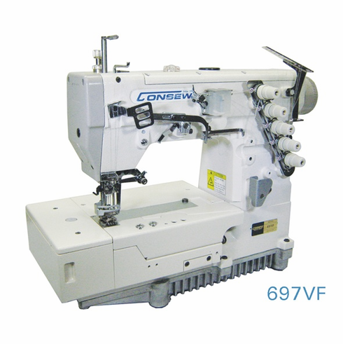 Consew Model 697VF<p>High Speed Flat Bed Coverstitch Machine</p><p> With: Fully Automatic Lubrication, Differential Feed With Micrometric Adjustment, Pushbutton Stitch Regulator, Thread Lubricating And Needle Cooling System.</p>