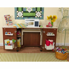 "Kangaroo Kabinets ""Bandicoot"" Sewing Cabinet (Teak K8205) <br><b><i><font color=red>Includes a Free Sewing Chair! </br></b></i></font color=red>"