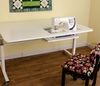 """Kangaroo """"Tasmanian"""" Height Adjustable Sewing Machine Craft Cutting Table  -(White K9111) <br><b><i><font color=red>Includes a Free Sewing Chair!  </br></b></i></font color=red>"""