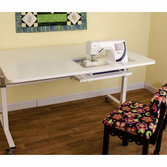 "Kangaroo ""Tasmanian"" Height Adjustable Sewing Machine Craft Cutting Table  -(White K9111) <br><b><i><font color=red>Includes a Free Sewing Chair!  </br></b></i></font color=red>"