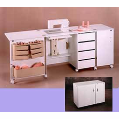 Perfexion Sewing Cabinets: Super Storage Sewing Credenza PXD580/581 White Or Oak