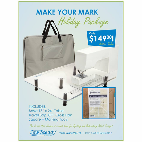 """Sew Steady Holiday Package <p>Clear Acrylic Portable Extension Table for Free-arm and Embroidery Sewing Machines.  - """"Large""""  18in. x 24in.</p>"""
