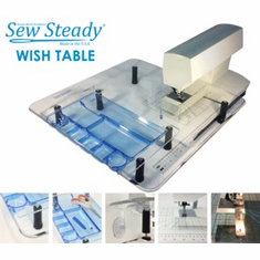 "Sew Steady ""Wish"" Clear Acrylic Portable Table - 22-1/2"" X 25-1/2"" circle sewing & drawer table"