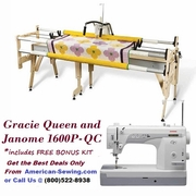 The Gracie Queen Frame with Janome 1600P-QC Mid-Arm Quilting Machine Bundle