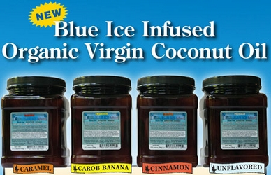 Blue Ice Infused Organic Virgin Coconut Oil - Family Size - Kid Tested!