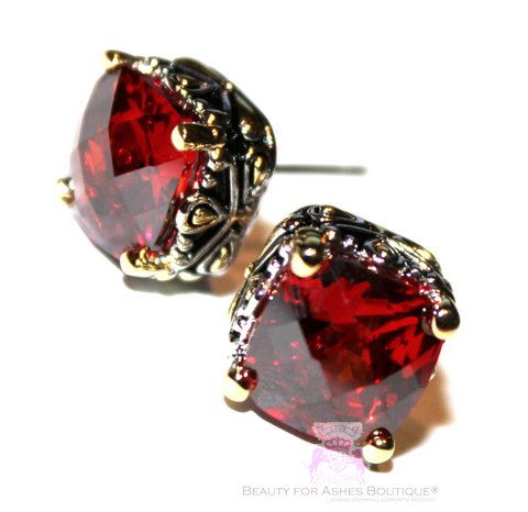 10mm Checker Cut Throne Room Red Garnet Post CZ Earrings