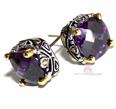 10mm Checker Two Tone Throne Room Amethyst Purple CZ Earrings