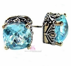10mm Checker Two Tone Throne Room Aqua Blue Topaz CZ Earrings