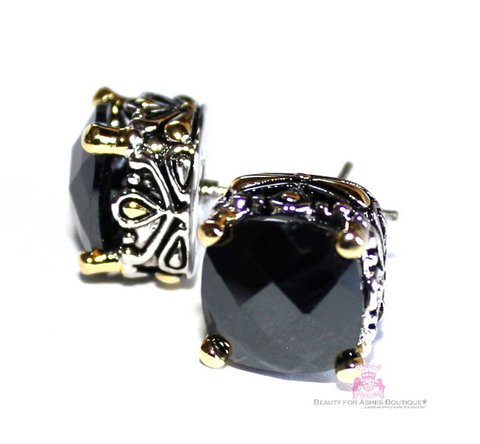 10mm Ebony Black Cz Two Tone Throne Room Earrings