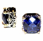 10mm Sapphire Blue Cz Throne Room Earrings