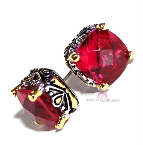 10mm Throne Room Cushion Cut Ruby Red Cz Two Tone Earrings