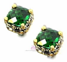 10mm Throne Room Emerald Green Cz Cushion Cut Post Earrings