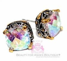 10mm Throne Room Fire Aurora Borealis Rainbow AB CZ Post Earrings
