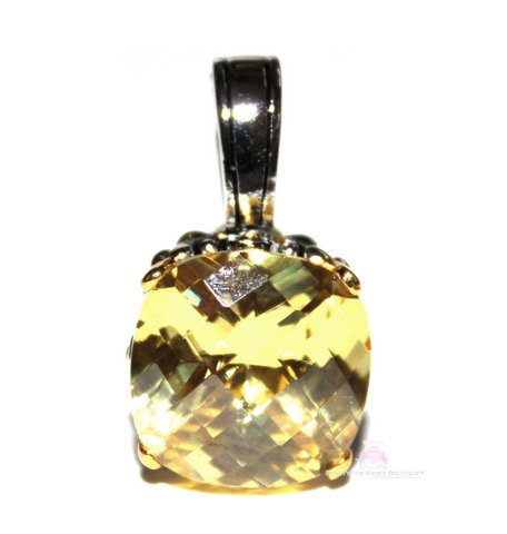 15mm Canary Yellow Cushion Cut Two Tone Throne Room Pendant