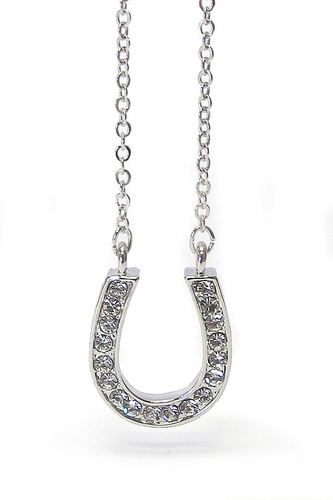 "18"" Girls Ladies Clear Crystal Horse Shoe Horseshoe Necklace"