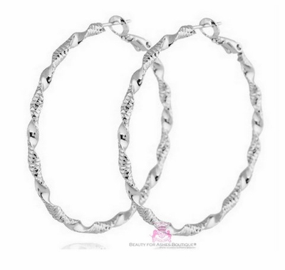 Classic Silvertone Swirl Twist Hoop Earrings