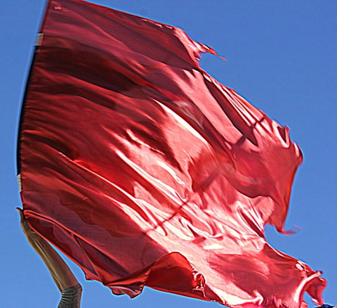 5' Foot Extra Large Billowy Flowy Worship Flags Set of 2 Flex Rods Red Fire of God (Color Choice)