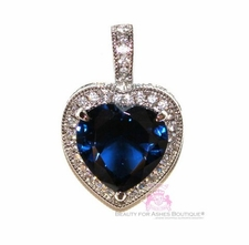 925 Sterling Silver Heart for Jerusalem Sapphire Cubic Zirconia Pendant