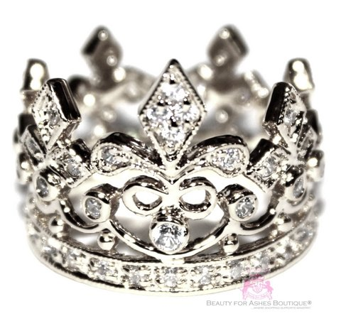925 Sterling Silver Princess Royalty Fleur de Lis Crown Ring