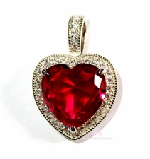 925 Sterling Silver Prophet's Heart Ruby Red Clear Cubic Zirconia Heart Pendant