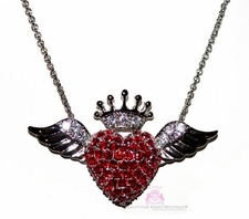 A New Heart Ruby Red Cz Angel Wing Crown Necklace