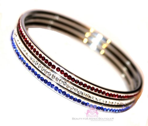 American Flag Red White Blue Cubic Zirconia Patriot Bangle Set