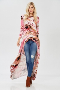 Annabelle Pink Multi Color Hi Low 3/4 Sleeve Rayon Blend Duster Top