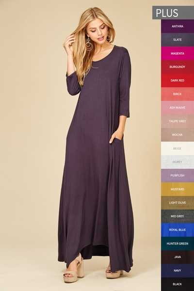 Annabelle Super Soft Maxi Dress with Pockets - Color Choice