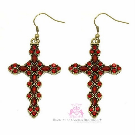 Antique Goldtone Dark Red Crystal Cross Earrings