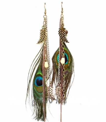 "Antique Tone 6.5"" Eyes to See Peacock Feather Earrings"