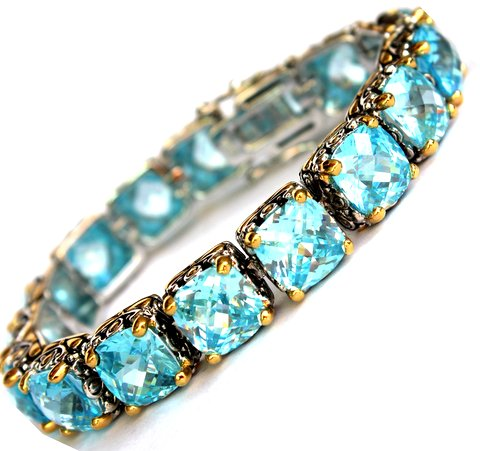 Aqua Blue Cubic Zirconia Throne Room Tennis Bracelet