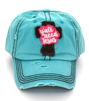 Aqua Blue Y'all Need Jesus Baseball Distressed Cap Hat