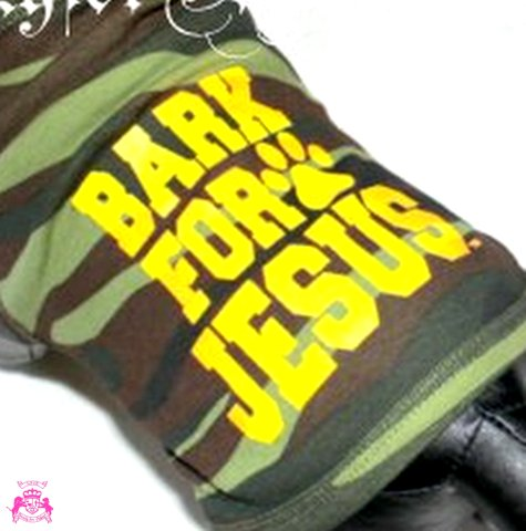 Bark for JesusTM  Army Camoflauge Camo Dog Tank Top