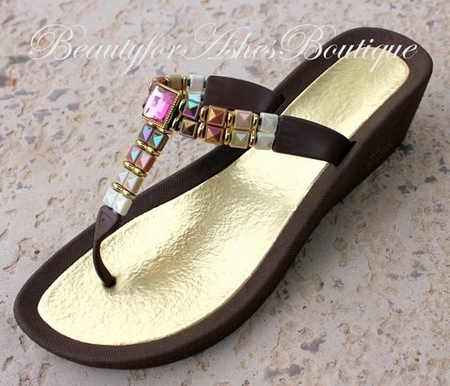 BEACH BROWN MULTI COLOR PINK AB THONG FLIP FLOP BLING SANDALS 10