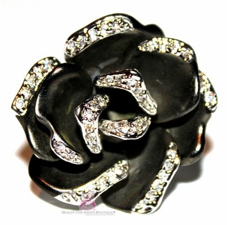 Black Matte Clear Cz Silver Flower Rose Ring