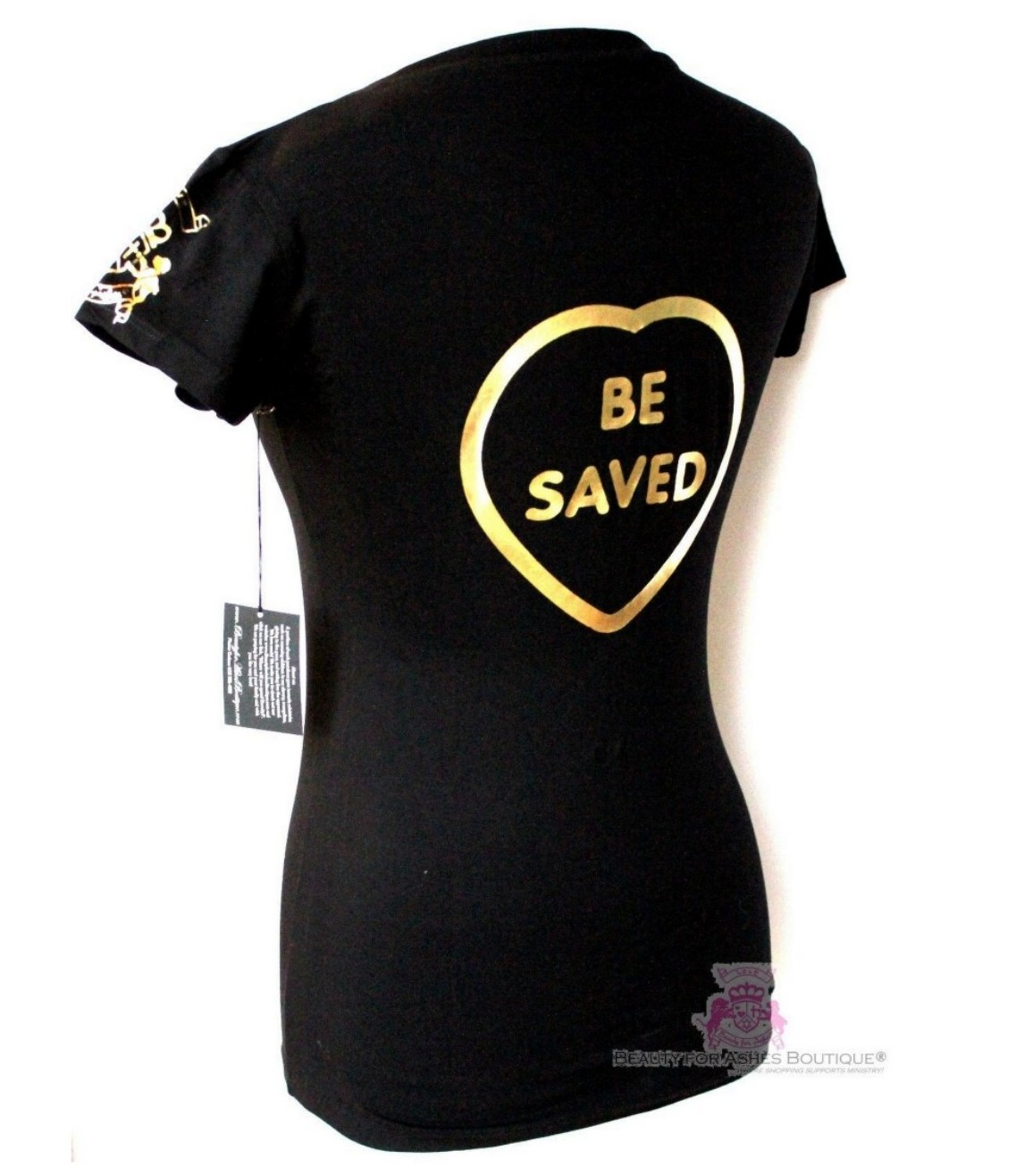 Black t shirt gold print - Beauty For Ashes Choose Jesus Be Saved Black Gold Print T Shirt