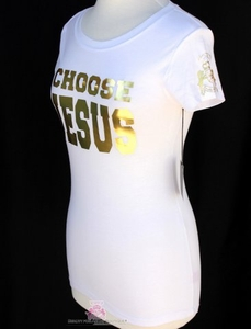 Choose Jesus Be Saved  White Gold Foil Short Sleeve T Shirt