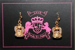 Beauty for Ashes Crystal Crown of Life Goldtone Drop Earrings