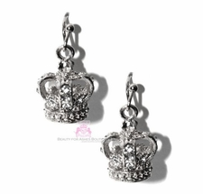 Beauty for Ashes Crystal Crown of Life Silvertone Drop Earrings