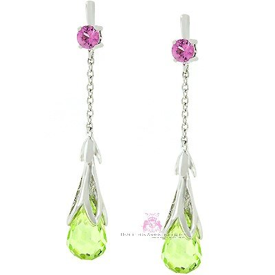 Dressy Peridot Cz Tear Drop Cocktail Earrings